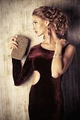 picture of charming  - Charming young woman wearing elegant evening dress and beautiful hairstyle - JPG