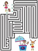picture of maze  - illustration with game for children  - JPG
