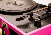 stock photo of view from space needle  - Old vintage good looking turntable playing a track with vinyl - JPG