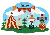 stock photo of funfair  - a vector about a circus full of animal - JPG