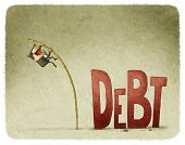 picture of jumping  - jump over a debt with a pole - JPG