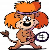pic of jungle animal  - a funny cartoon of a tennis lion - JPG