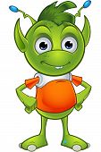 foto of alien  - A cartoon illustration of a cute little green alien character with pointy ears - JPG