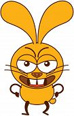 stock photo of moaning  - Cute yellow bunny in minimalistic style with big ears - JPG