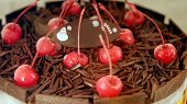 image of ice-cake  - Colourful chocolate ice cream cake with cherries for celebration - JPG
