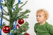 stock photo of envy  - little boy looking at the Christmas tree with envy - JPG