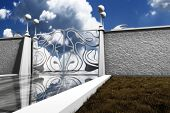 stock photo of heavens gate  - 3d illustration of pearl gate with slab of marble walkway and billowy clouds in the back ground - JPG