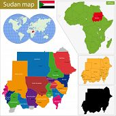 stock photo of north sudan  - Administrative division of the Republic of the Sudan - JPG