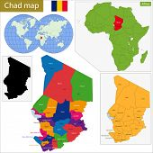 stock photo of chad  - Chad map with high detail and accuracy and it is divided into provinces which are colored with different bright colors - JPG