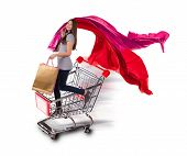 picture of gift basket  - Happy young woman with shopping bags staying in basket - JPG