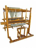 picture of loom  - Vintage ancient wooden loom isolated over white background - JPG