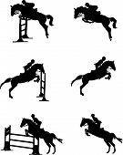 stock photo of saddle-horse  - vector silhouette of horse jumping obstacle on white background - JPG