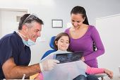 image of pediatrics  - Pediatric dentist explaining to mother and her daughter the x - JPG