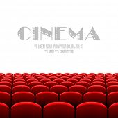 stock photo of cinema auditorium  - Cinema auditorium with white screen and red seats - JPG