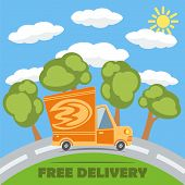 image of fire truck  - Free delivery van truck with fire vinyl logo on the road with trees clouds and sun - JPG