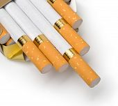 foto of box-end  - Box of cigarettes isolated on a white with clipping path - JPG