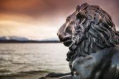 stock photo of bavaria  - Lion statue at lake  - JPG