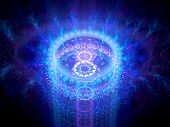 image of higgs boson  - Blue glowing chakra in space computer generated abstract background - JPG