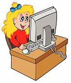 stock photo of young girls  - Cartoon girl working with computer  - JPG