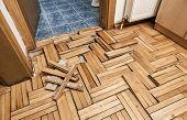 image of floor heating  - Damaged wooden floor  - JPG