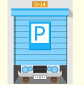 picture of roller door  - Flat colorful vector icon for around the clock parking with blue horizontal doors with parking sign on gray background - JPG