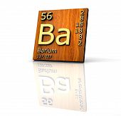 Barium Form Periodic Table Of Elements - Wood Board poster
