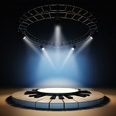 pic of illuminating  - A 3d illustration of blank template layout of empty jazz music stage - JPG