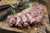 stock photo of wagyu  - Grilled Steak Slices - JPG