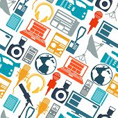 stock photo of mass media  - Seamless pattern with journalism icons - JPG