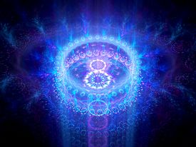 stock photo of higgs boson  - Blue glowing chakra in space computer generated abstract background - JPG