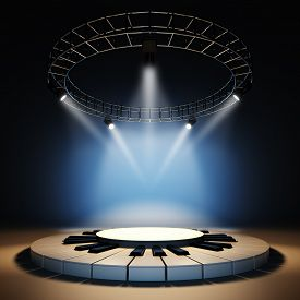 picture of illuminated  - A 3d illustration of blank template layout of empty jazz music stage - JPG