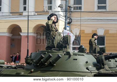 Soldiers In Military Vehicles On Rehearsal Of Military Parade