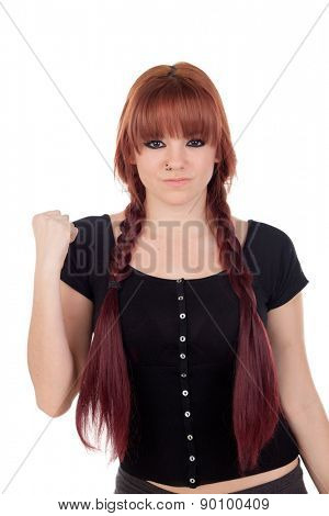Winner teenage girl dressed in black with a piercing isolated on white background