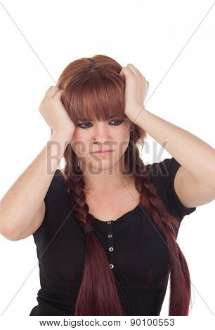 Worried teenage girl dressed in black with a piercing isolated on white background