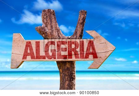 Algeria wooden sign with ocean background