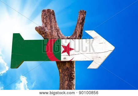 Algeria Flag wooden sign with sky background