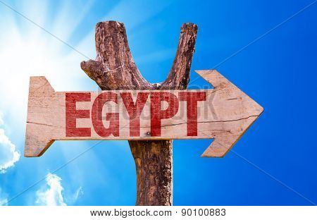 Egypt wooden sign with sky background