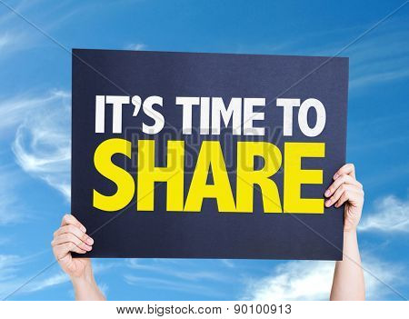 Its Time to Share card with sky background