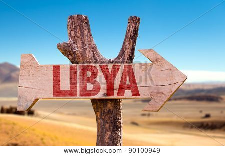 Libya wooden sign with dry background