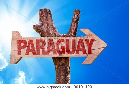 Paraguay wooden sign with sky background