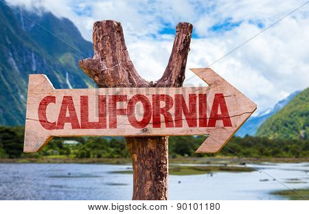 California wooden sign with mountains background
