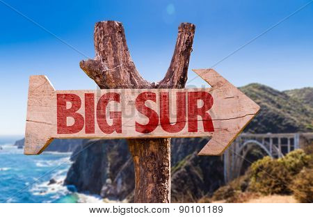 Big Sur wooden sign with Big Sur on background