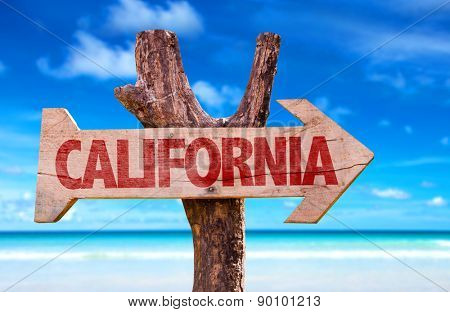 California wooden sign with beach background