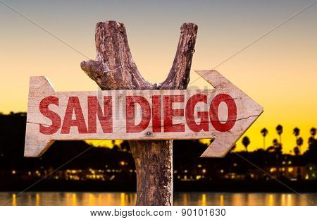 San Diego wooden sign with sunset background