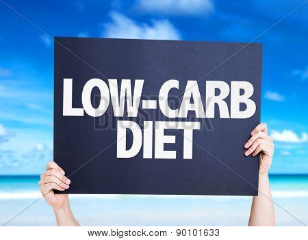Low Carb Diet card with beach background