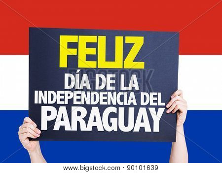 Happy Paraguay Independence Day (in Spanish) card with paraguay flag
