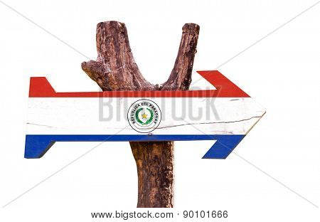 Paraguay Flag wooden sign isolated on white background