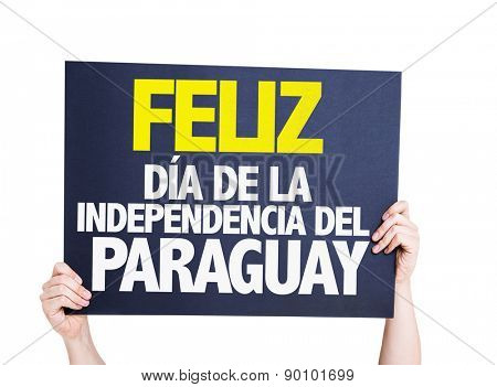 Happy Paraguay Independence Day (in Spanish) card isolated on white