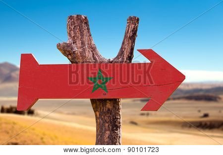 Marocco Flag wooden sign with dry  background