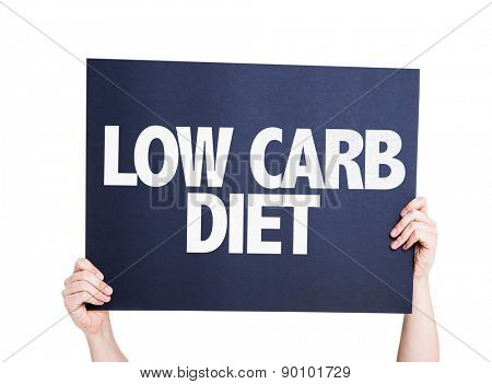 Low Carb Diet card isolated on white